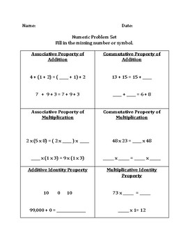 Activities- Commutative, Associative, Identity, Distributive Properties