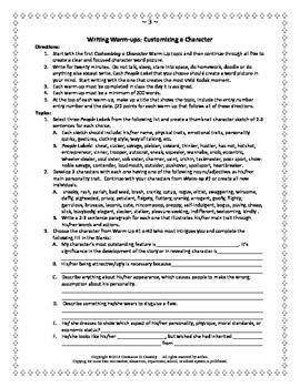 Comprehension Activity: Customizing Character Writing Warm-Ups