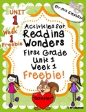 Activities For Reading Wonders First Grade Unit 1 Week 1 Freebie