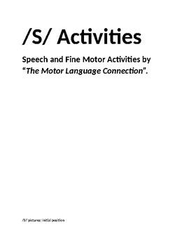 Activities For /S/ Sound