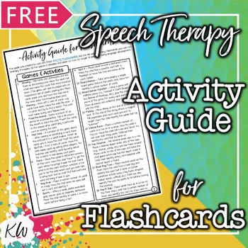 Speech Therapy FREE Activities Guide for Picture Flashcards