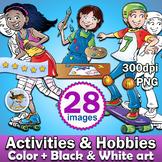 28 Activities & Hobbies clipart - Color plus Black and White clip art