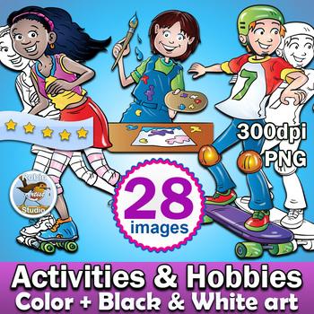 28 Activities Hobbies Clipart Color Plus Black And White Clip Art