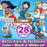 28 Activities & Hobbies clipart - Color plus Black and Whi
