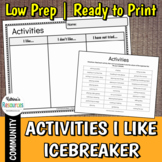 Activities I Like Icebreaker - A Cut & Paste Back to School Exercise