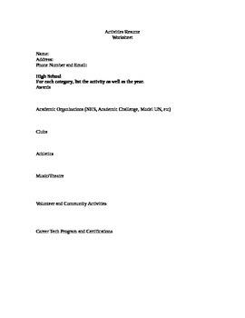 Activities Resume Worksheet