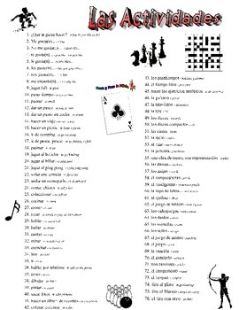 Activities, Sports, and Park Spanish Vocabulary Collection