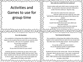 Activities and Games for Group Time/Morning Meeting