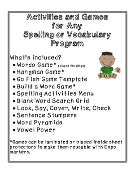 Activities and Games for Spelling and Vocabulary
