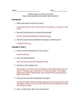 Activities and Handouts for the novel 13 Reasons Why by Jay Asher