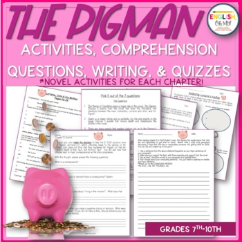 The Pigman-ENTIRE UNIT of Activities, Worksheets and Assessments