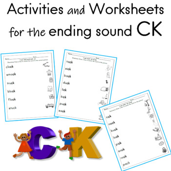 Activities and Worksheets for the ending sound CK | TpT