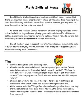 Activities at Home to Support Math - for Parents