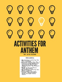 Activities For Anthem By Ayn Rand By Language Arts And Sundry Tpt