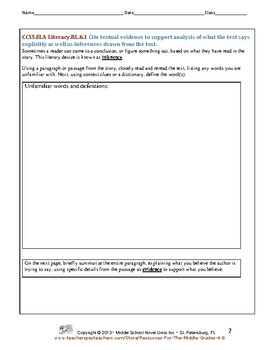Activities for Any Story - CCSS for Reading Literature - Grade 6