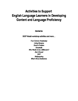 Activities for English Language Learners (3rd to 12th grade)