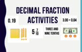 Activities for Fractions / Decimals to the tenths and hundredths!