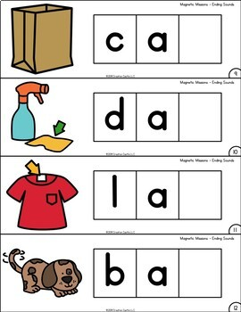 Activities for Magnetic Letters - Ending Sounds