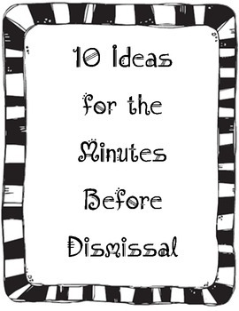 Activities for Minutes Before Dismissal - Includes 50 trivia cards!