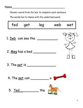 Activities for Short Vowel Sounds  Pre-K-K-Gr. 1