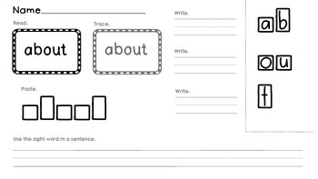 Activities for Sight Word Memorization Third Grade