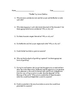 """Activities and Handouts for the Short Story """"The Bet"""" by Anton Chekhov"""