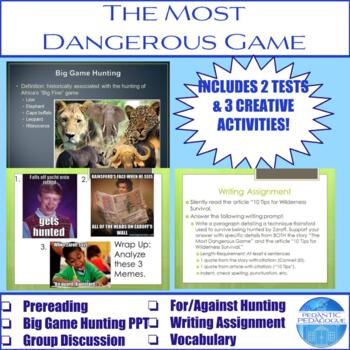 """Activities for """"The Most Dangerous Game"""" by Richard Connell"""