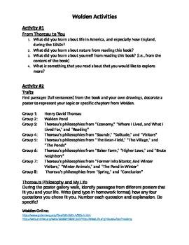 "Activities for Thoreau's ""Walden"""