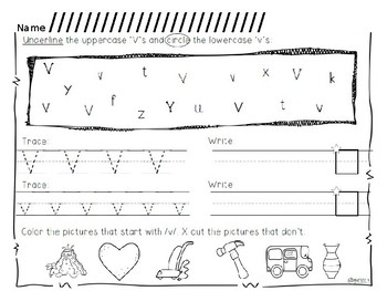 Activities for letters K, V, and Y.