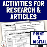 Activities for Research Project & Current Events News Article Summary Analysis