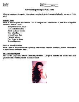 Activities for the Movie Selena