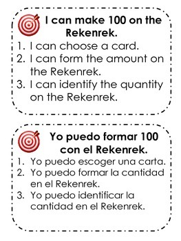 Activities for the Rekenrek or 100 Bead Rack in Spanish and English