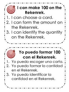 Activities for the Rekenrek or 100 Bead Rack in Spanish an
