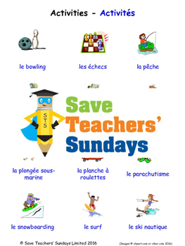 Activities in French Worksheets, Games, Activities and Flash Cards
