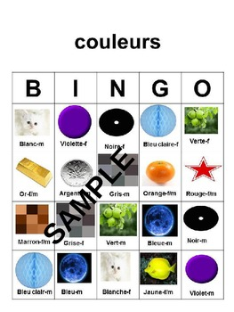 Activities in French naming colors
