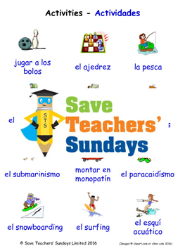 Activities in Spanish Worksheets, Games, Activities and Flash Cards