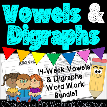 1st Grade Word Work for Long & Short Vowels, and Digraphs! No Prep!!!