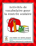 Activités de vocabulaire de la rentrée / French School Word Wall and Activities