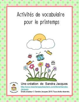 Activités de vocabulaire pour le printemps