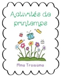 Activités et vocabulaire de printemps/ French spring writing activities