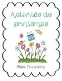 Activités et vocabulaire de printemps/ French spring writi