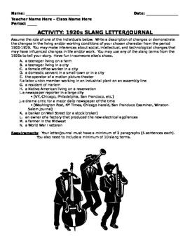 Activity: 1920s Slang Journal
