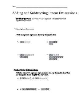 Activity~ Adding and Subtracting Linear Expressions