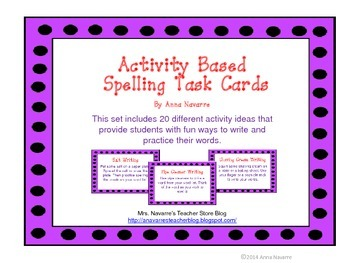 Activity Based Spelling Task Cards