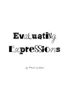 Activity Cards: Evaluating Expressions