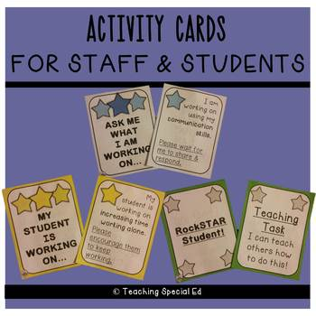 Activity Cards - For Staff and Students