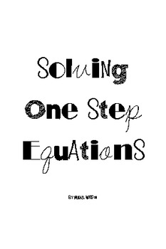 Activity Cards: Solving One-Step Equations