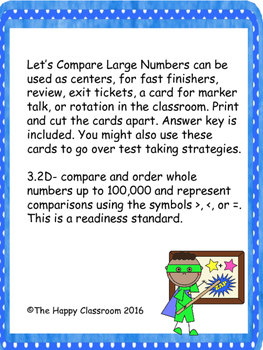 Activity Cards for Comparing numbers in 3rd grade