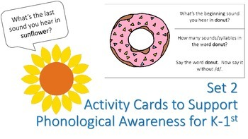 Activity Cards to Support Phonological Awareness for K/1st Grade SET 2