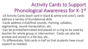 Activity Cards to Support Phonological Awareness for K/1st Grade SET 3